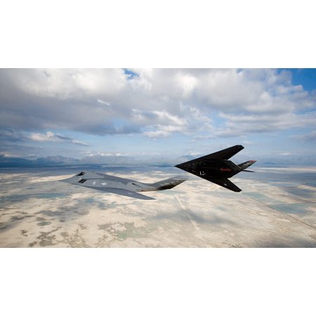 Two F-117 Nighthawk stealth fighters in flight over New Mexico Poster Print by HIGH-G ProductionsStocktrek Images