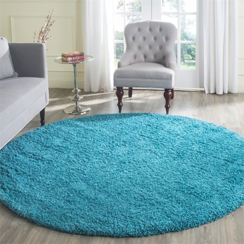 "Safavieh Laguna Shag 6'7"" Square Power Loomed Rug in Turquoise - image 5 of 10"