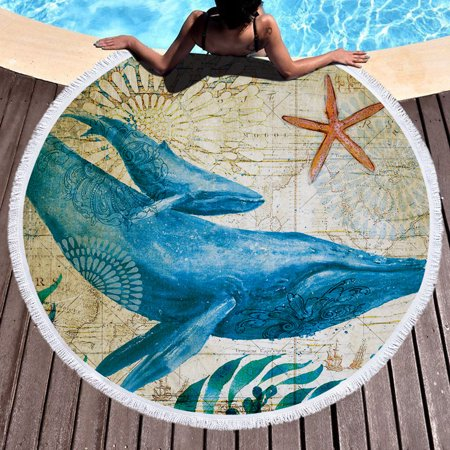 Round/Rectangle Beach Towel Bohemian Style Beach Shawl Tapestry Blanket Yoga Mat Octopus/Whale/Sea horse/Turtle Pattern