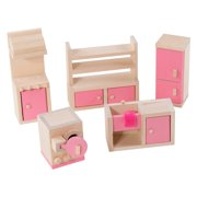 Eliiti Miniature Wooden Dollhouse Kitchen 5Pcs Furniture for Girls Kids 3 to 7 Years Old