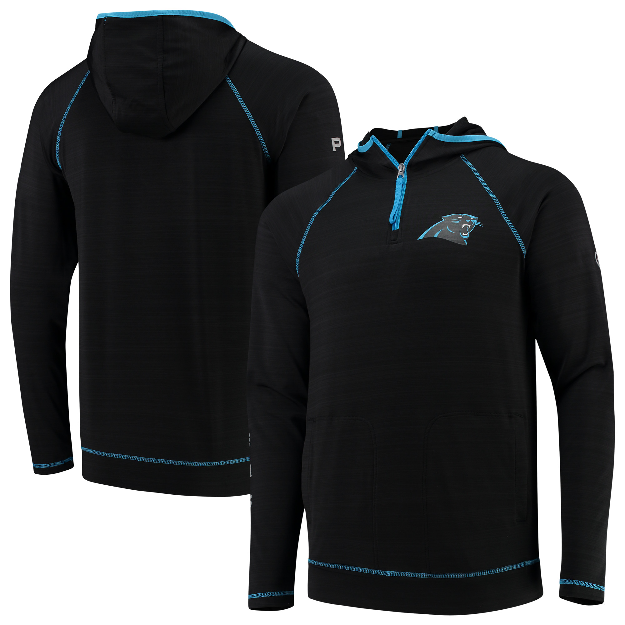 Carolina Panthers Hands High Interval Space Dye Raglan Sleeve Quarter-Zip Pullover Hoodie - Black - XL