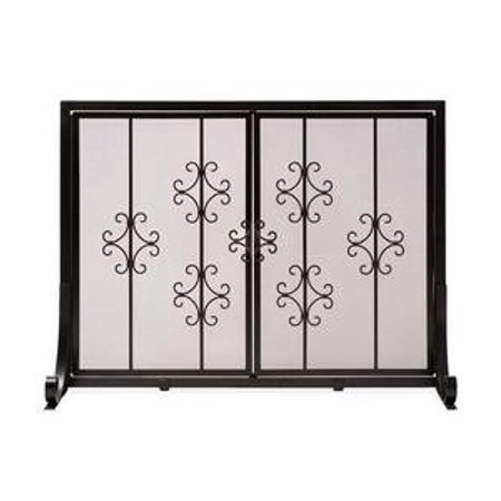 Large Vienna Scroll Fireplace Fire Screen with Two Doors