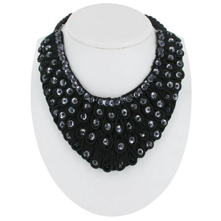 Black Bead Bib Necklace - Black Beaded Sequined Bib Collar Statement Necklace