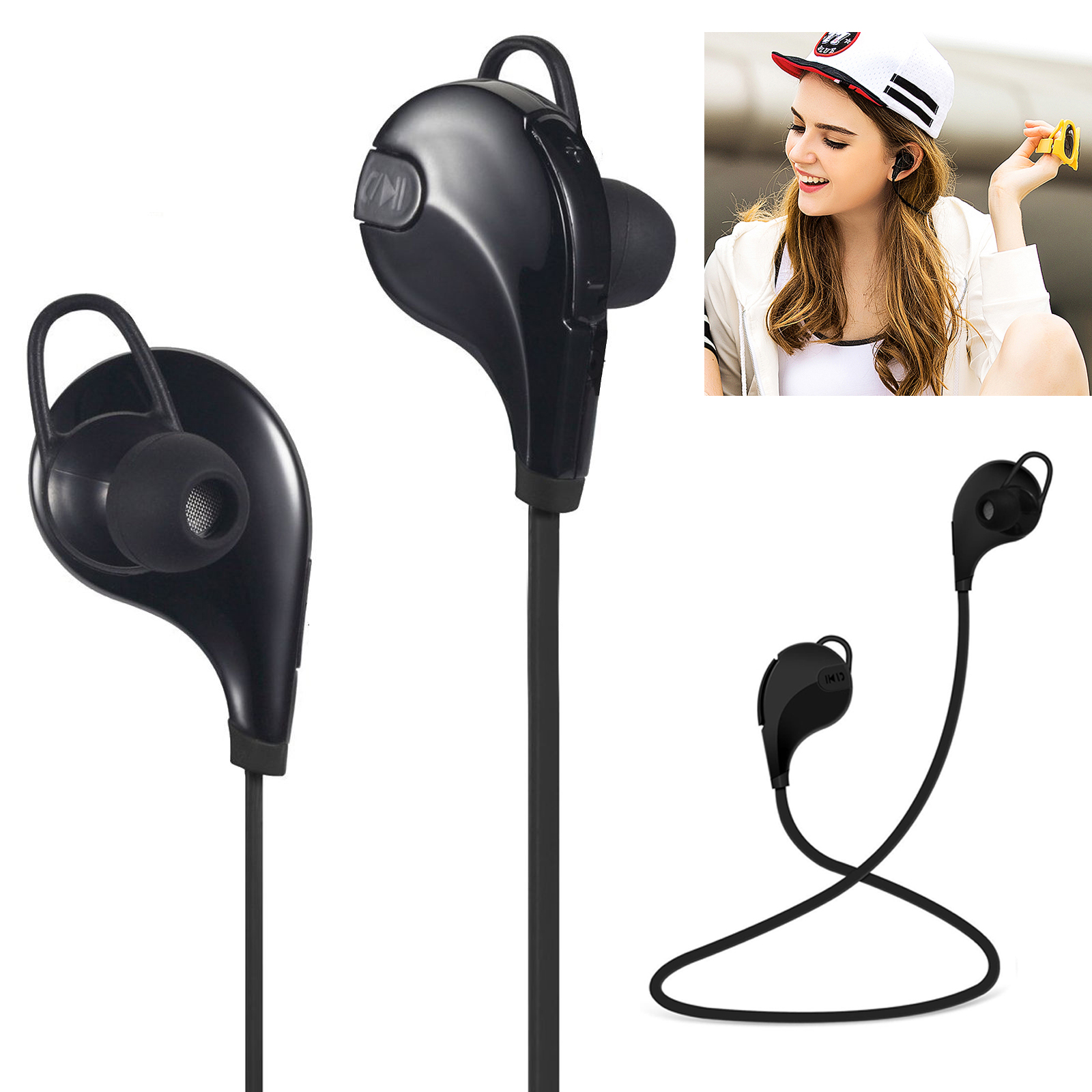 Bluetooth 4.1 Wireless Headphones Sports Stereo In-ear Earphones Earbuds Headset Universal(Black)