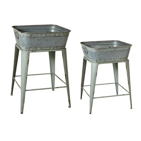Set of 2 Distressed Gray Square Bucket Plant Stand With Handles 27.25