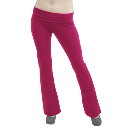 Vivian's Fashions Yoga Pants - Full Length, Misses Size (Fuchsia, - Team Pink Team Blue Buttons