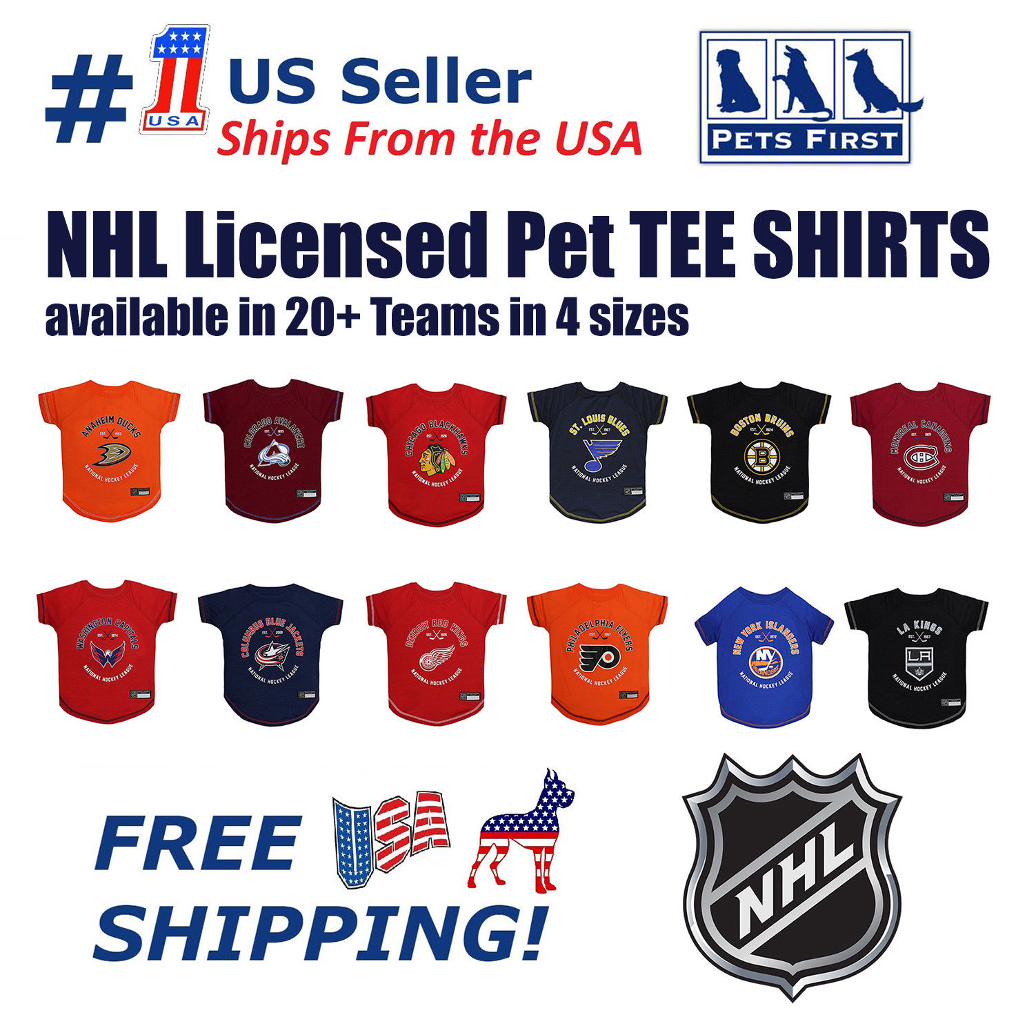 Pets First NHL Montreal Canadiens T-Shirt - Licensed, Wrinkle-free, stretchable Tee Shirt for Dogs & Cats