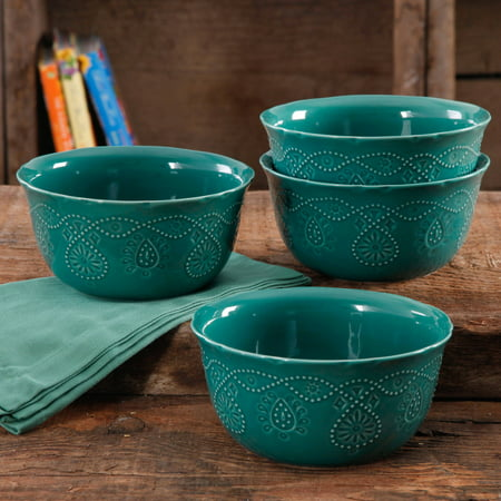 (The Pioneer Woman Cowgirl Lace Transparent Glaze 4-Pack Bowls)