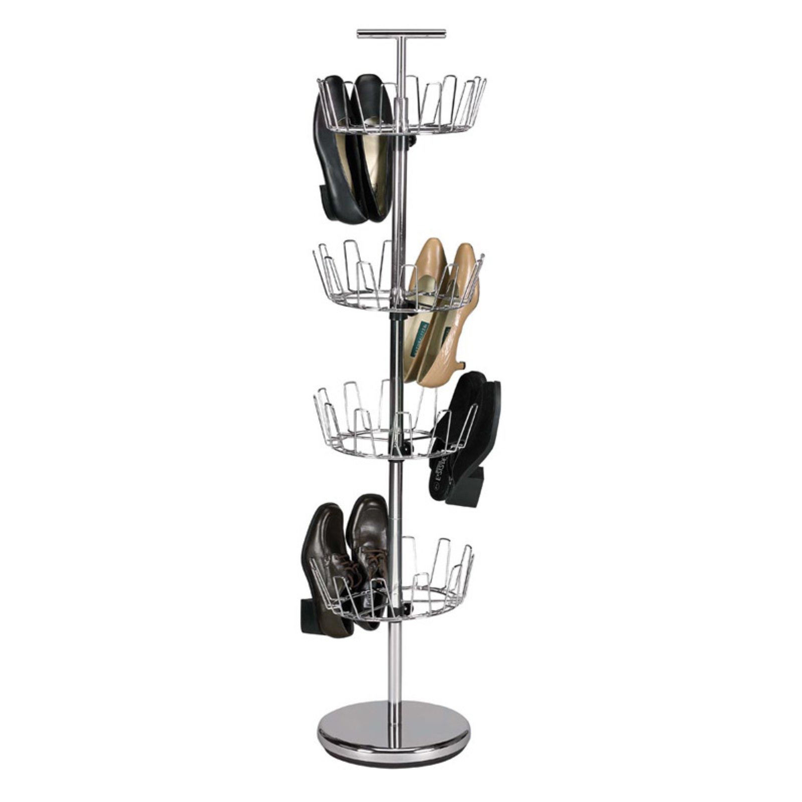 Household Essentials 4-Tier Revolving Shoe Tree, Silver