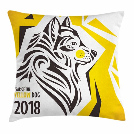Year of the Dog Throw Pillow Cushion Cover, Oriental Geometric Design with Abstract Canine Motif New Year, Decorative Square Accent Pillow Case, 16 X 16 Inches, Charcoal Grey Yellow, by Ambesonne (New Oriental Motor)