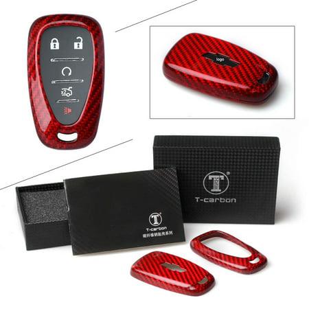 GZYF RED Carbon Fiber Remote Key Cover Case Protector Fit For Chevy Camaro Malibu Cruze (2002 Chevy Malibu Remote)