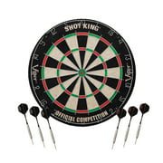 Viper Shot King Regulation Bristle Steel Tip Dartboard Set with Staple-Free Bullseye, Galvanized Metal Spider Wire; High-Grade Compressed Sisal with Rotating Number Ring, Includes 6 Darts