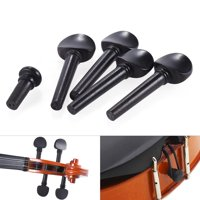 1/8 Size Ebony Wood Violin Fiddle Tuning Pegs Endpin Set Replacement Black