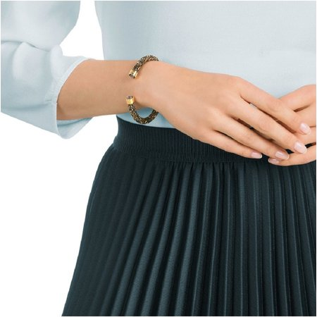 Swarovski CrystalDust Cuff Bracelet, Black & Gold, Small-5372883