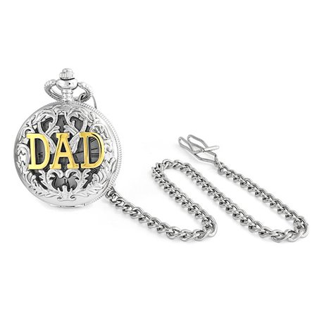 Large Two Tone DAD Gold Plated Simulated Quartz Mens Pocket (Dad Pocket Watch)