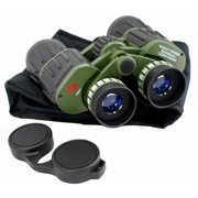 1209 Perrini Day Night Prism Black & Green Military Binoculars with Pouch, 60 x 50 in