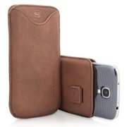 Snugg B00C1GUV8M Samsung Galaxy S4 Pouch Case, Distressed Brown PU Leather