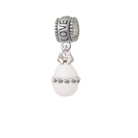 White Easter Egg with Clear Crystal Band - Love You More Charm Bead