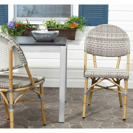 Safavieh Barrow Wicker Indoor-Outdoor Stacking Side Chair, Grey, Set of 2 ()