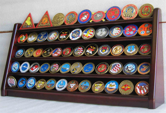 5 Rows Challenge Coin Holder Display Stand, Solid Wood, Mahogany Finish (COIN5-MAH) by