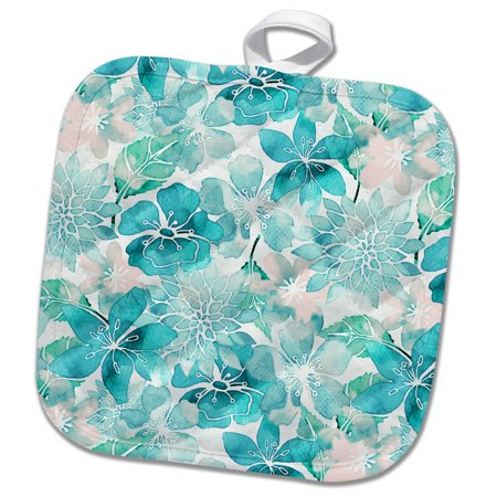 3dRose Turquoise Watercolor Flower Pattern - Pot Holder, 8 by 8-inch