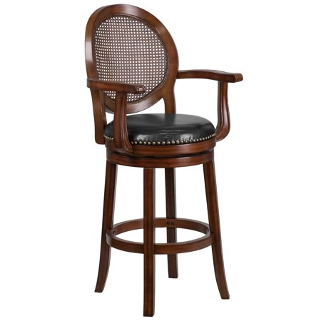 Flash Furniture 30'' High Expresso Wood Barstool with Arms and Black Leather Swivel Seat ()
