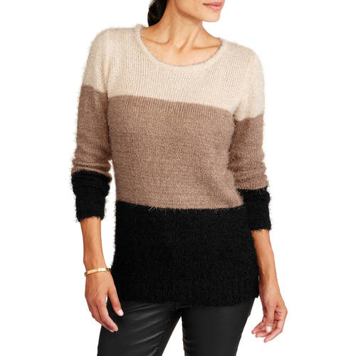 Generic Women's Color Block Feathered Pullover Sweater