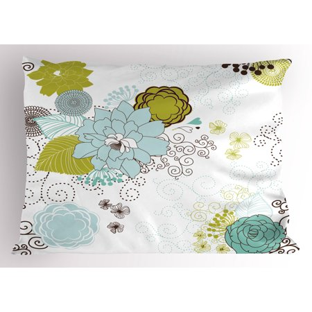 Floral Pillow Sham Pastel Pattern Romantic Ornament Components Petals Leaves Swirls, Decorative Standard Size Printed Pillowcase, 26 X 20 Inches, Baby Blue Yellow Green Mint, by Ambesonne - Mint Green Blue