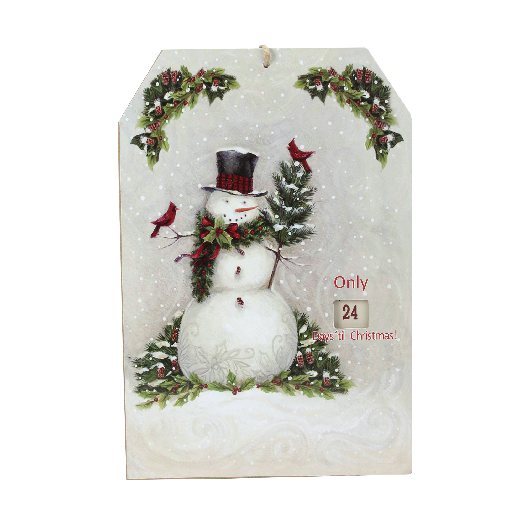 "11.75"" Hanging Snowman and Cardinal Advent Christmas Calendar"
