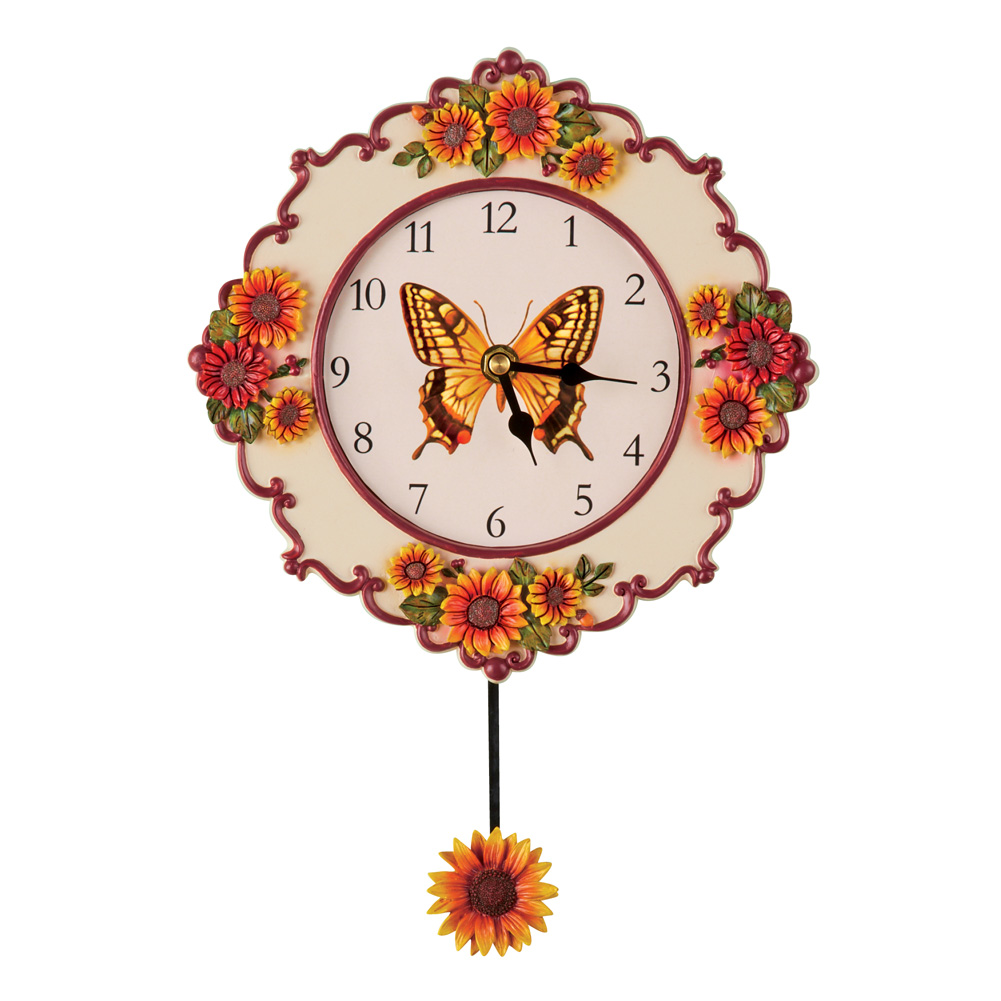 Sunflower Kitchen Decor Hand Painted Pendulum Wall Clock With Butterfly