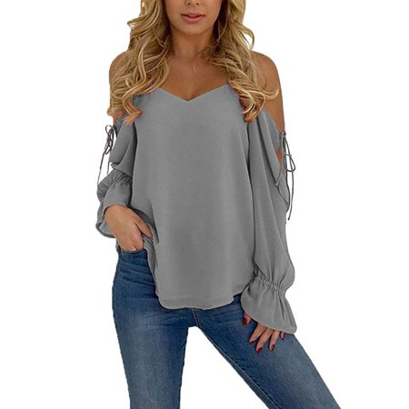 Womens Sexy Long Sleeve Spaghetti Strap Cold Shoulder Tops Blouse