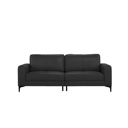 Plush Leather Mid Century Modern Living Room Sofa, Black by Sofamania