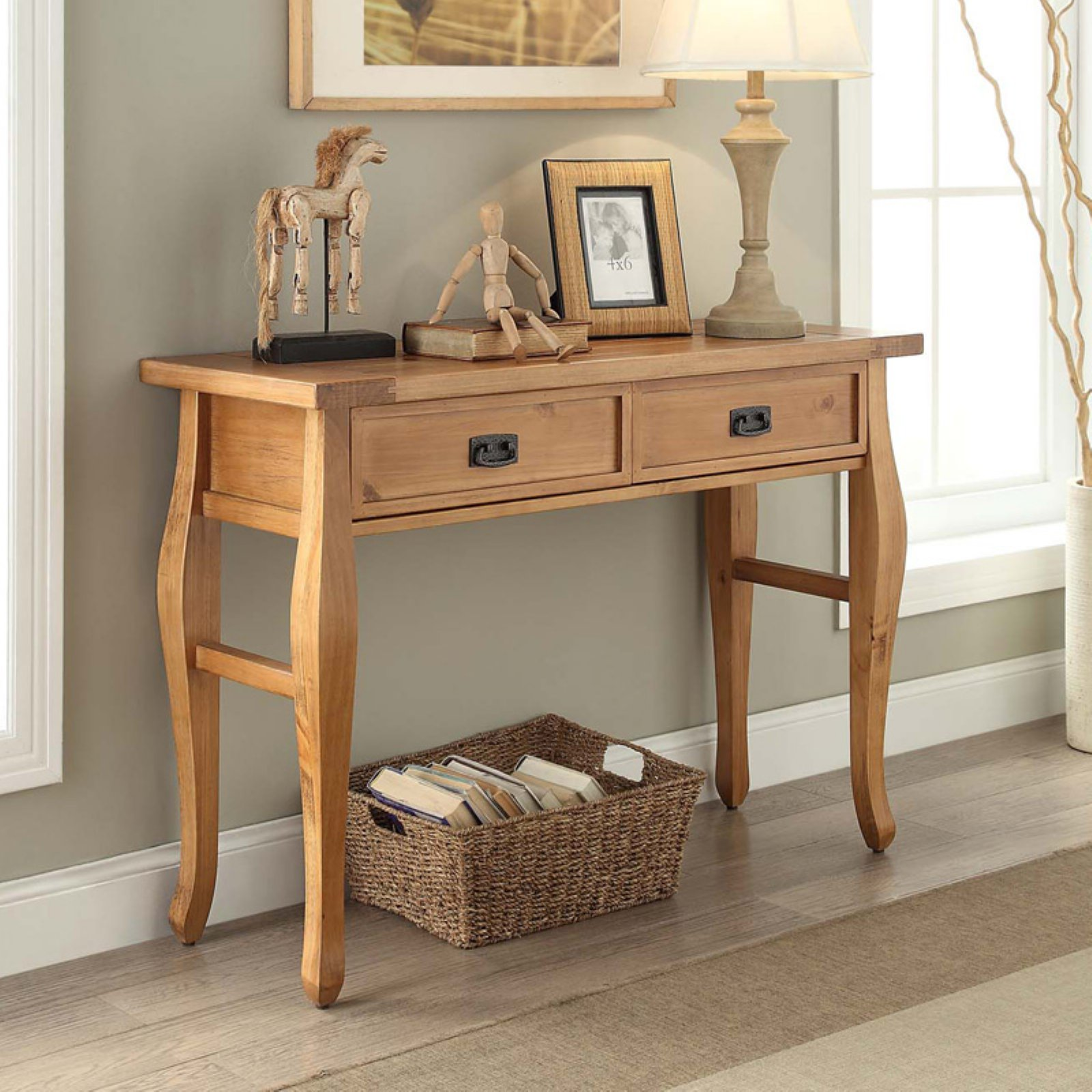 Linon Santa Fe Console Table, Antique Pine Finish
