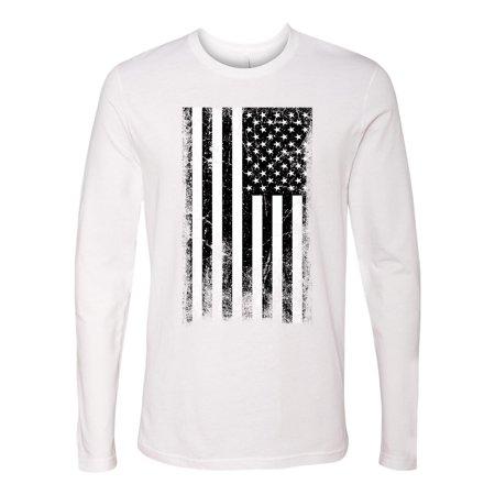American Flag Distressed Black & White  Mens Graphic Tees Long Sleeve T-Shirt ()