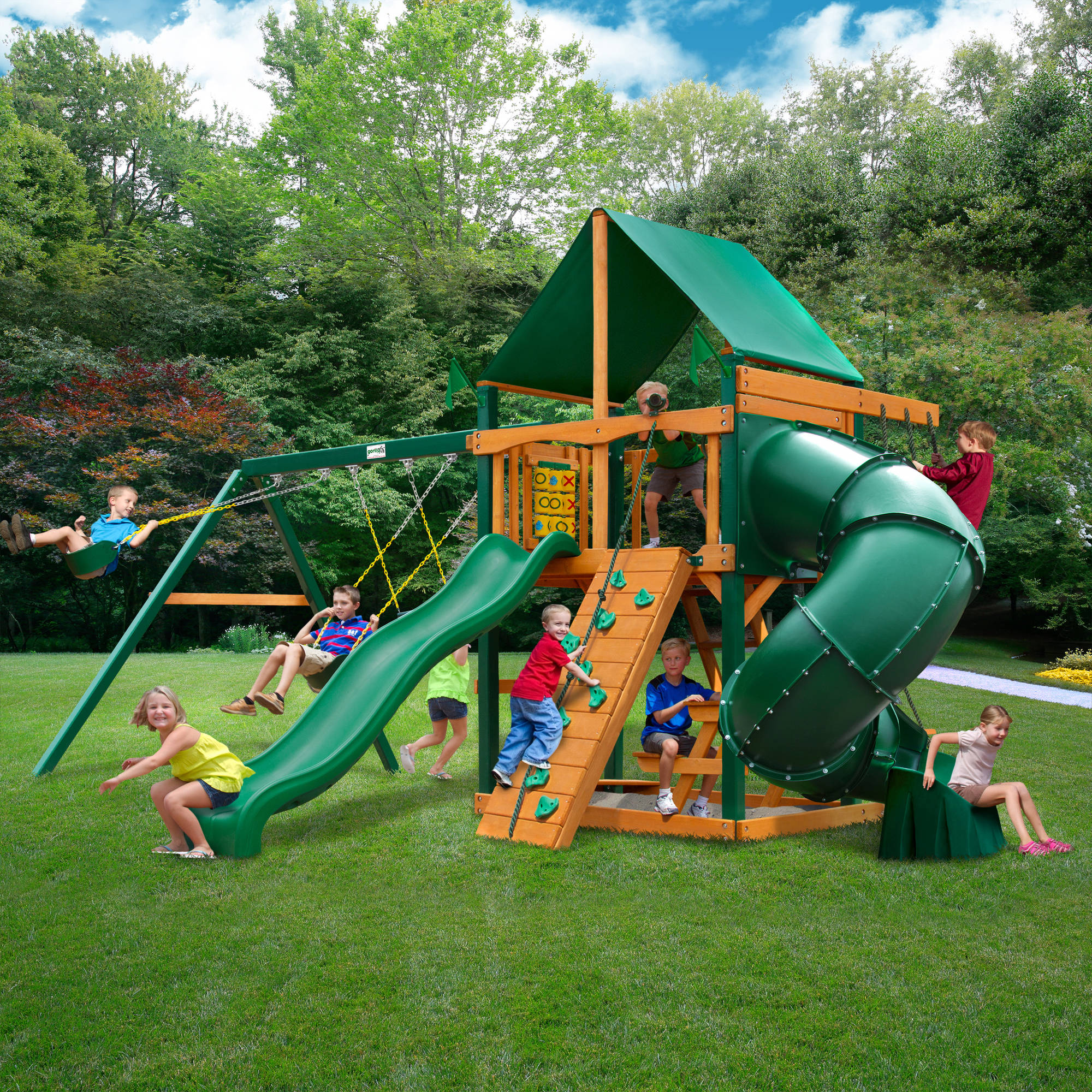 Gorilla Playsets Mountaineer Deluxe Cedar Wooden Swing Set