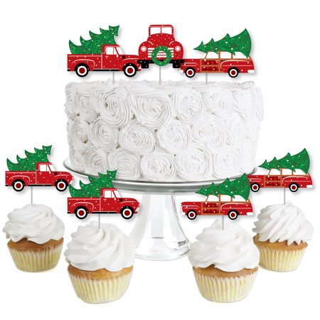 Cars Cupcake (Merry Little Christmas Tree - Dessert Cupcake Toppers - Red Truck and Car Christmas Party Clear Treat Picks - Set of)