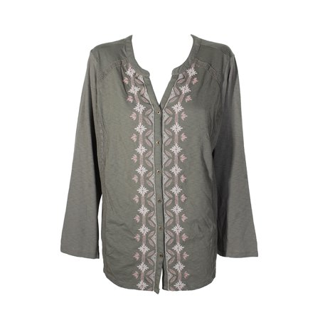 90e5483cc53 StyleCo - Style Co Plus Size Olive Green Embroidered Button Front Long  Sleeve Peasant Top 3X - Walmart.com