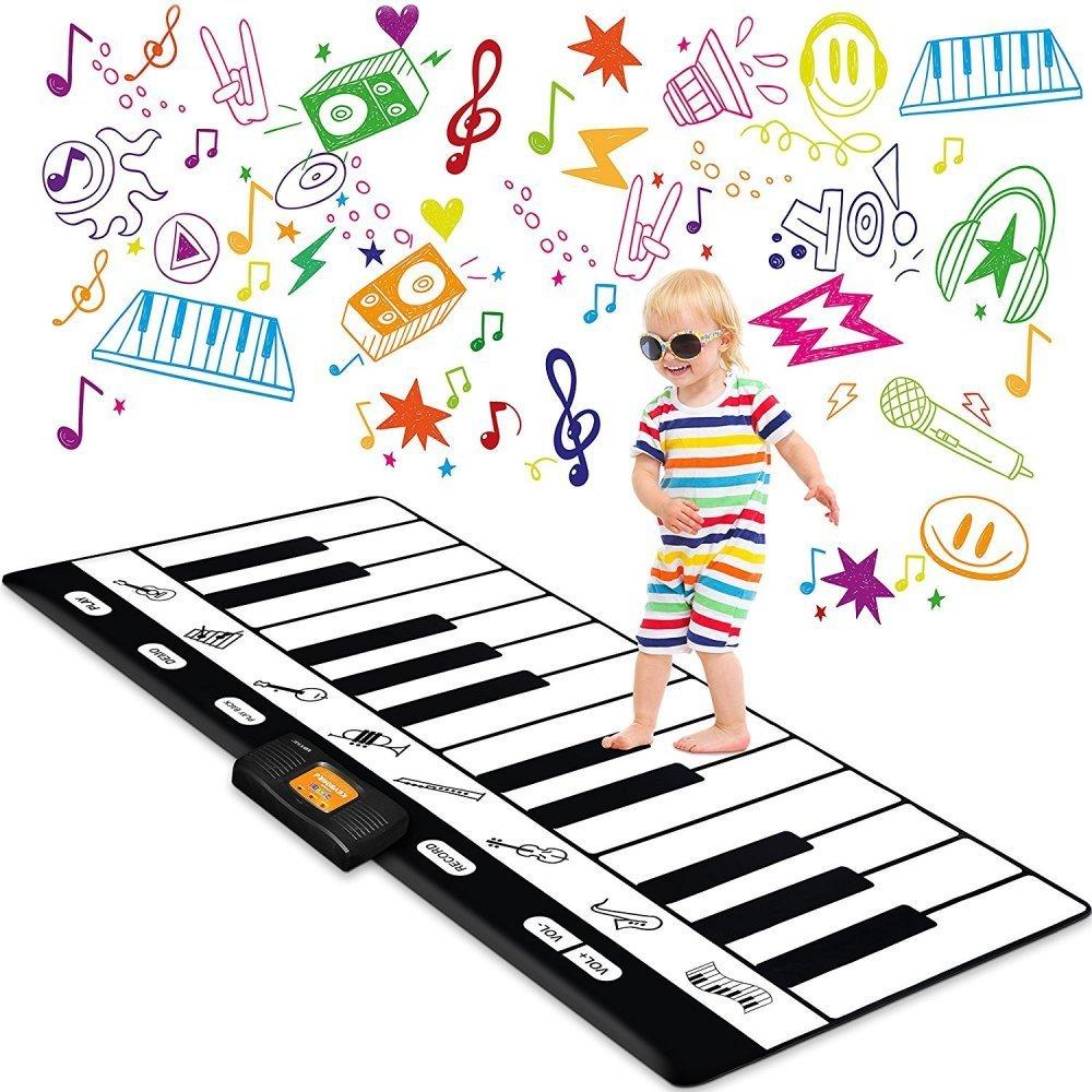 "Keyboard Playmat 71"" - 24 Keys Piano Play Mat - Piano Mat has Record, Playback, Demo, Play, Adjustable Vol. - Best Keyboard Piano Gift for Boys & Girls - Original - By Play22"