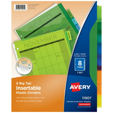 Office Furniture Dividers - Avery Big Tab Insertable Plastic Dividers, 8-Tab Set, Multicolor