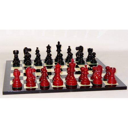 Worldwise Black and Red Lacquer Chess Set With Black Geometric (Lacquered Chess Board)