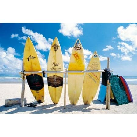 Sun Sea Surf Surfboards Rack Beach Ocean Sand Tropical Peaceful Poster   36X24
