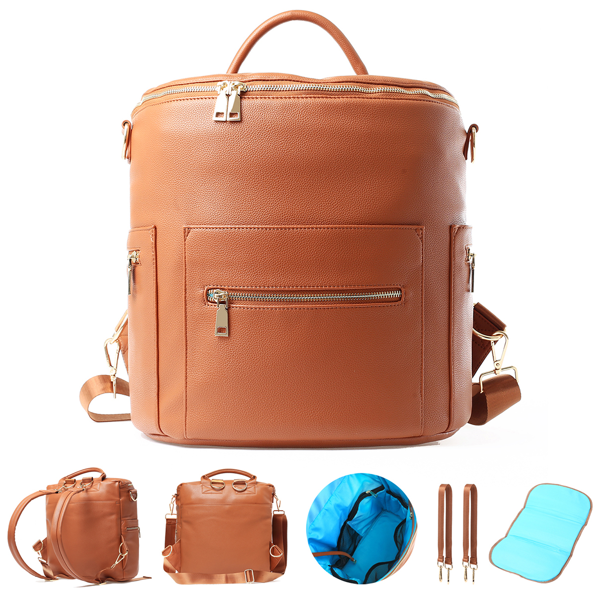 Laminated paper bag vegan leather Backpack