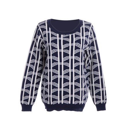S/M Fit Blue and White Geometric Stripes Fine Knit Pullover Sweater