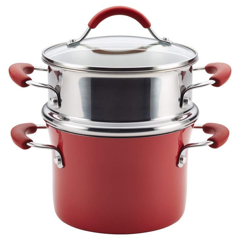Pemberly Row Hard Enamel Nonstick Steamer in Cranberry Red