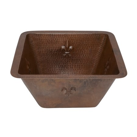 Square Hammered Copper Sink (Premier Copper Products 15