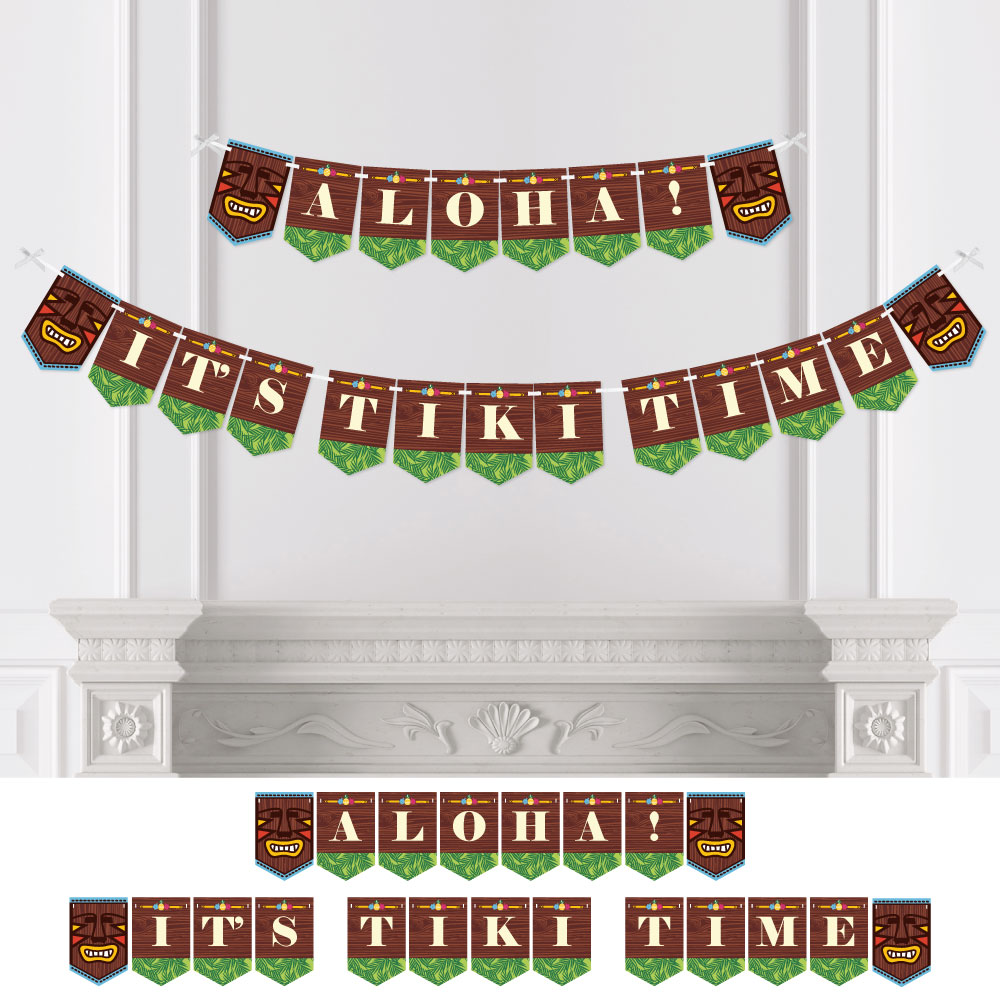 Tiki Luau - Party Bunting Banner - Tropical Hawaiian Summer Party Decorations - Aloha! It's Tiki Time