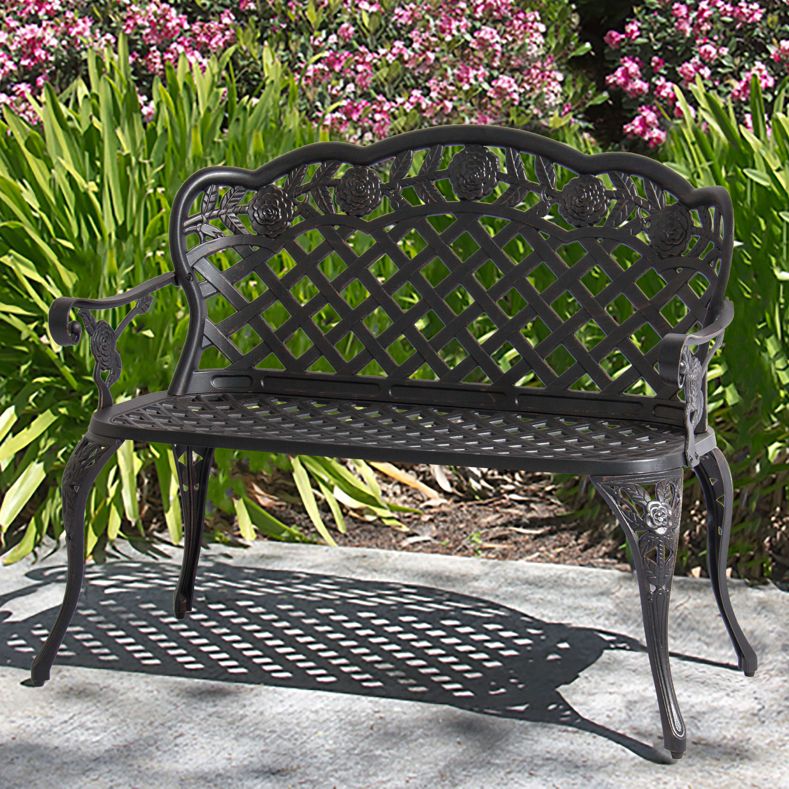 Patio Garden Bench Cast Aluminum Outdoor Garden Yard Solid