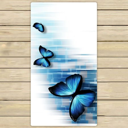 PHFZK Abstract Towel, Three Blue Butterflies Hand Towel Bath Bathroom Shower Towels Beach Towel 30x56 inches - Butterfly Bathroom