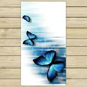 PHFZK Abstract Towel, Three Blue Butterflies Hand Towel Bath Bathroom Shower Towels Beach Towel 30x56 inches