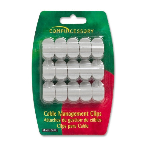 Compucessory Cable Organization Clips, w/ Double Stick Tape, 15 per Pack, Gray